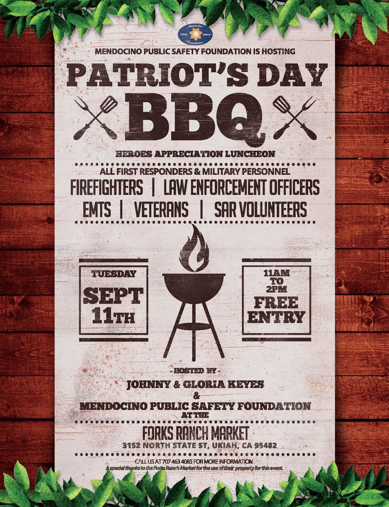 Patriot's Day BBQ 9-11-2018